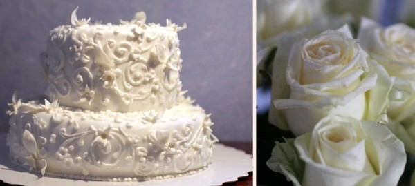 красивый белый свадебный торт