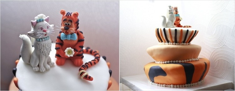 яркий оранжевый свадебный торт с котами