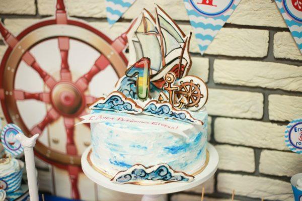 торт с кораблем морской