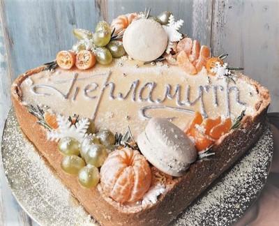 """Торт """"Перламутр"""" с мандаринами и виноградом"""