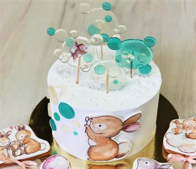 Трепетно милый торт с зайчиками