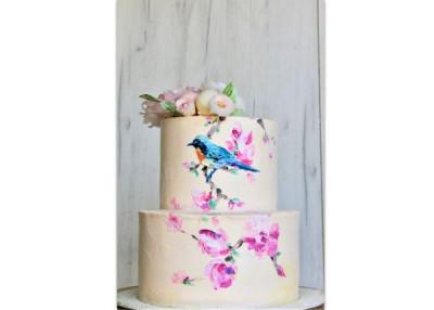 Свадебный торт с росписью по крему