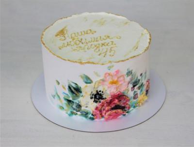 Нежный торт с росписью