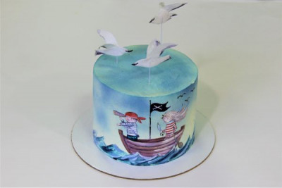 Торт пиратский с чайками
