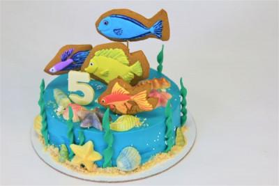 Торт с аквариумными рыбками