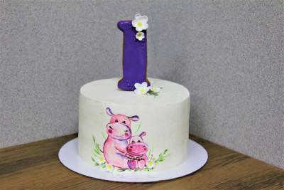 Торт на годик с бегемотиком